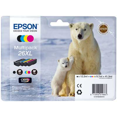 T2636 XL Multipack Printer Ink Cartridge (Polar Bear)